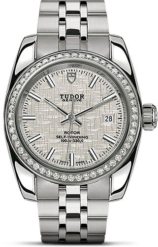 Tudor Watches - Classic Date 28 mm - Steel - Diamond Bezel - Style No: M22020-0002
