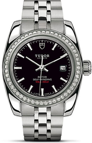 Tudor Watches - Classic Date 28 mm - Steel - Diamond Bezel - Style No: M22020-0006