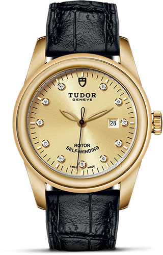Tudor Watches - Glamour Date 31 mm - Yellow Gold - Leather Strap - Style No: M53008-0016