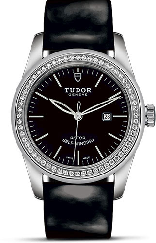 Tudor Watches - Glamour Date 31 mm - Steel - Dia Bezel - Leather Strap - Style No: M53020-0047
