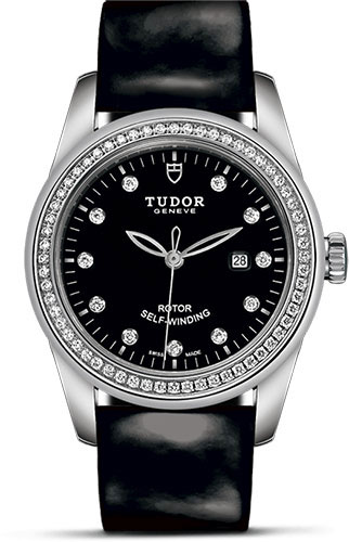 Tudor Watches - Glamour Date 31 mm - Steel - Dia Bezel - Leather Strap - Style No: M53020-0048