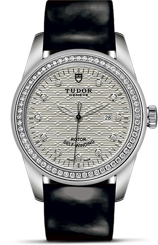 Tudor Watches - Glamour Date 31 mm - Steel - Dia Bezel - Leather Strap - Style No: M53020-0055