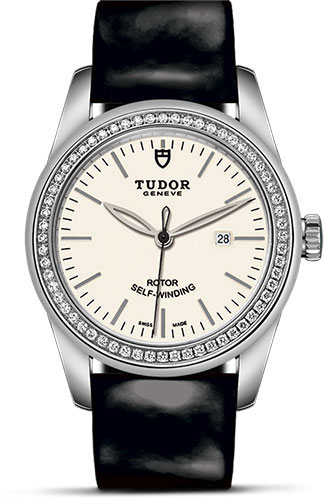 Tudor Watches - Glamour Date 31 mm - Steel - Dia Bezel - Leather Strap - Style No: M53020-0079
