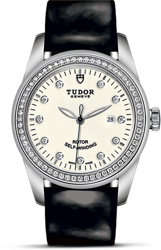 Tudor Watches - Glamour Date 31 mm - Steel - Dia Bezel - Leather Strap - Style No: M53020-0086