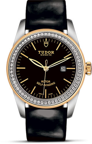Tudor Watches - Glamour Date 31 mm - Steel and Gold - Dia Bezel - Leather Strap - Style No: M53023-0040