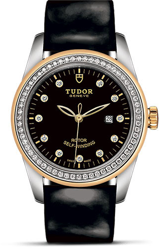 Tudor Watches - Glamour Date 31 mm - Steel and Gold - Dia Bezel - Leather Strap - Style No: M53023-0041