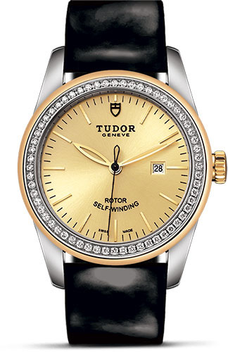 Tudor Watches - Glamour Date 31 mm - Steel and Gold - Dia Bezel - Leather Strap - Style No: M53023-0044
