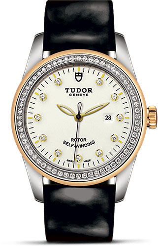Tudor Watches - Glamour Date 31 mm - Steel and Gold - Dia Bezel - Leather Strap - Style No: M53023-0078