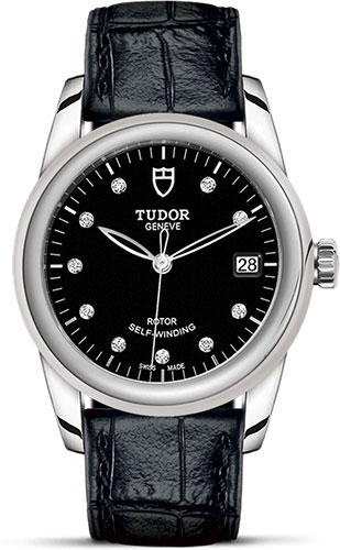Tudor Watches - Glamour Date 36 mm - Steel - Leather Strap - Style No: M55000-0013