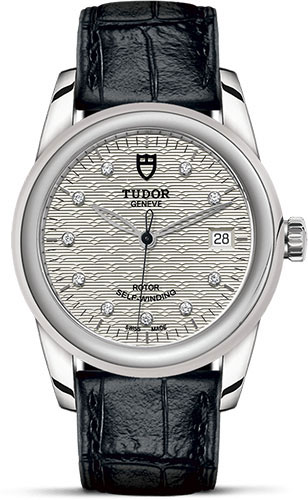Tudor Watches - Glamour Date 36 mm - Steel - Leather Strap - Style No: M55000-0058