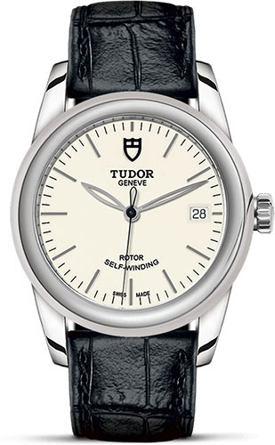 Tudor Watches - Glamour Date 36 mm - Steel - Leather Strap - Style No: M55000-0107