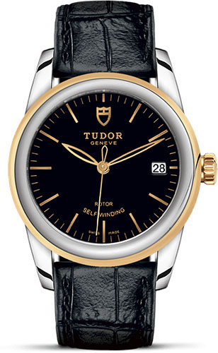 Tudor Watches - Glamour Date 36 mm - Steel and Gold - Leather Strap - Style No: M55003-0029