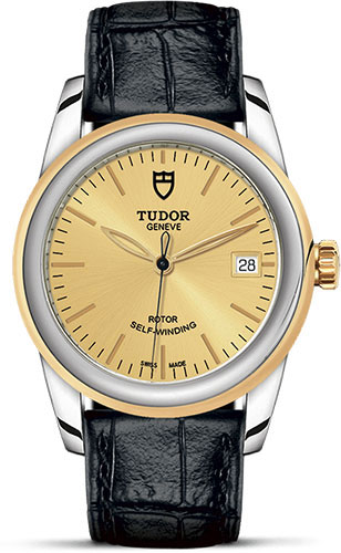 Tudor Watches - Glamour Date 36 mm - Steel and Gold - Leather Strap - Style No: M55003-0044