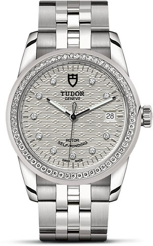 Tudor Watches - Glamour Date 36 mm - Steel - Dia Bezel - Bracelet - Style No: M55020-0001