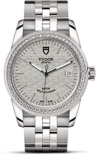 Tudor Watches - Glamour Date 36 mm - Steel - Dia Bezel - Bracelet - Style No: M55020-0002