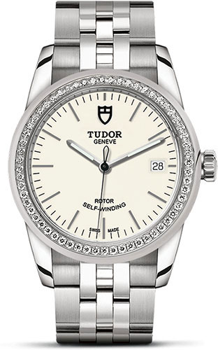 Tudor Watches - Glamour Date 36 mm - Steel - Dia Bezel - Bracelet - Style No: M55020-0095