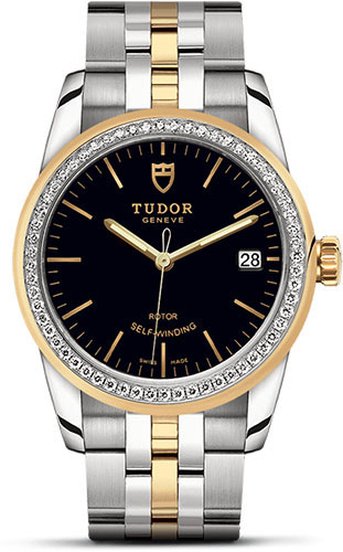 Tudor Watches - Glamour Date 36 mm - Steel and Gold - Dia Bezel - Bracelet - Style No: M55023-0021