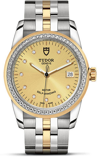Tudor Watches - Glamour Date 36 mm - Steel and Gold - Dia Bezel - Bracelet - Style No: M55023-0026
