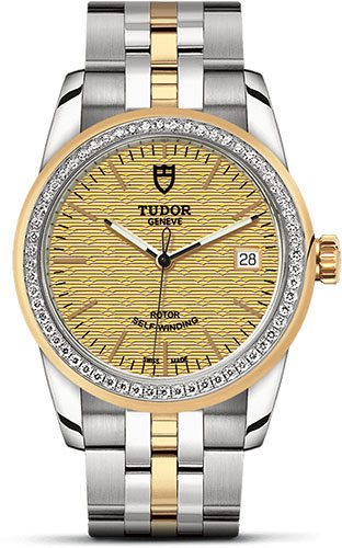 Tudor Watches - Glamour Date 36 mm - Steel and Gold - Dia Bezel - Bracelet - Style No: M55023-0027