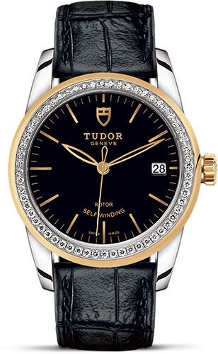 Tudor Watches - Glamour Date 36 mm - Steel and Gold - Dia Bezel - Leather Strap - Style No: M55023-0045
