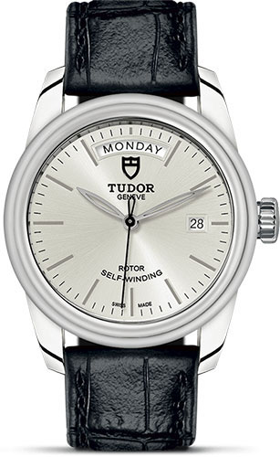 Tudor Watches - Glamour Date and Day 39 mm - Steel - Leather Strap - Style No: M56000-0018