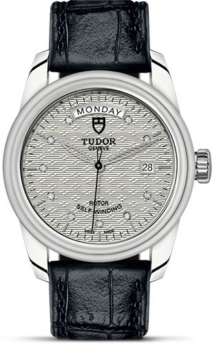 Tudor Watches - Glamour Date and Day 39 mm - Steel - Leather Strap - Style No: M56000-0038