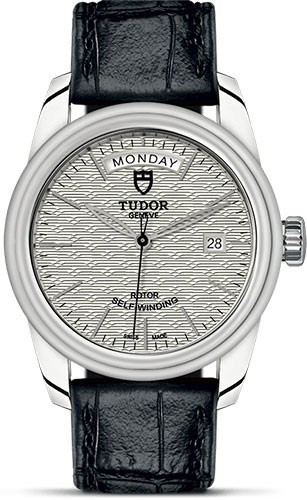 Tudor Watches - Glamour Date and Day 39 mm - Steel - Leather Strap - Style No: M56000-0043