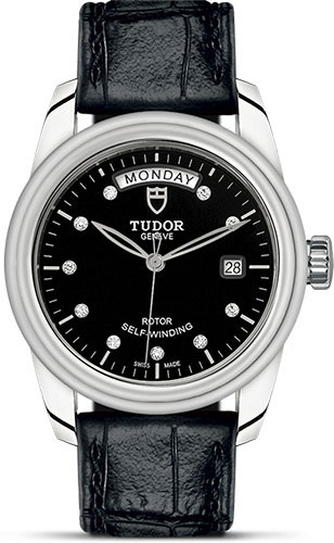 Tudor Watches - Glamour Date and Day 39 mm - Steel - Leather Strap - Style No: M56000-0049