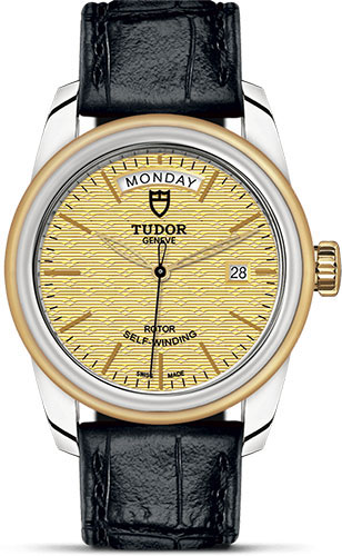 Tudor Watches - Glamour Date and Day 39 mm - Steel and Gold - Leather Strap - Style No: M56003-0010