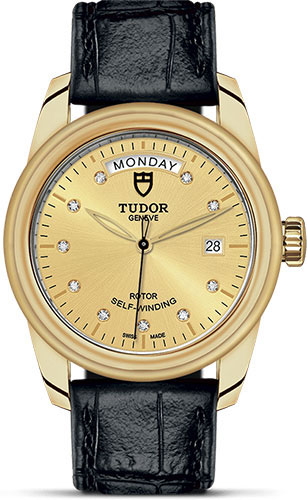 Tudor Watches - Glamour Date and Day 39 mm - Yellow Gold - Leather Strap - Style No: M56008-0015