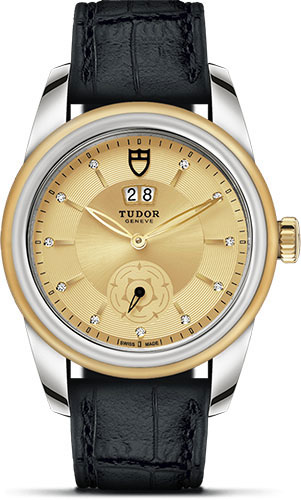 Tudor Watches - Glamour Double Date 42 mm - Steel and Gold - Leather Strap - Style No: M57003-0072
