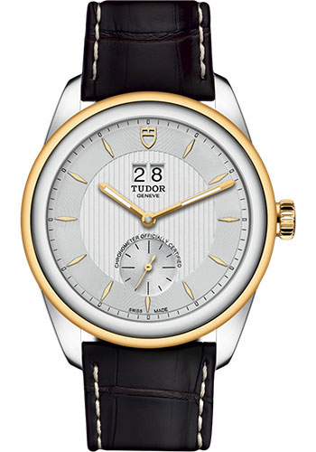 Tudor Watches - Glamour Double Date 42 mm - Steel and Gold - Leather Strap - Style No: M57103-0019