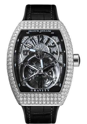 Franck Muller Watches - Vanguard Gravity - White Gold - Dia Case - Strap - Style No: V 45 T GR CS D CD OG Black