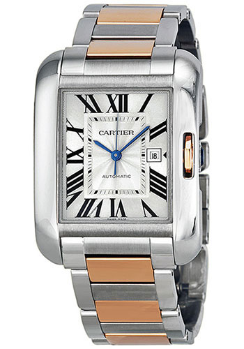Cartier Watches - Tank Anglaise Stainless Steel and Pink Gold - Style No: W5310037