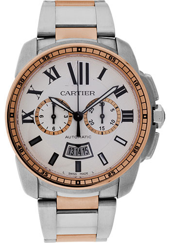 Cartier Watches - Calibre de Cartier Chronograph Stainless Steel and Pink Gold - Style No: W7100042