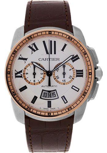 Cartier Watches - Calibre de Cartier Chronograph Stainless Steel and Pink Gold - Style No: W7100043