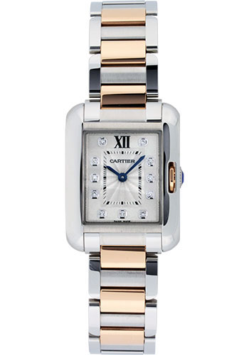 Cartier Watches - Tank Anglaise Stainless Steel and Pink Gold - Style No: WT100024