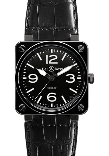 Bell & Ross Watches - BR 01-92 Automatic Black Ceramic - Style No: BR 01-92 Black Ceramic Alligator