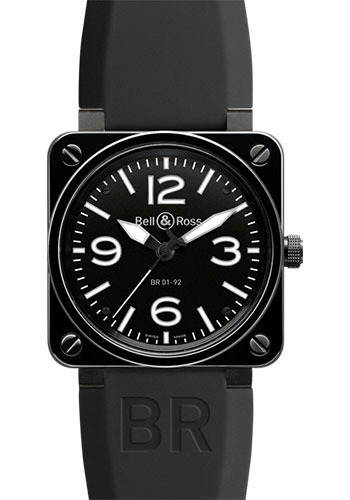 Bell & Ross Watches - BR 01-92 Automatic Black Ceramic - Style No: BR 01-92 Black Ceramic Rubber