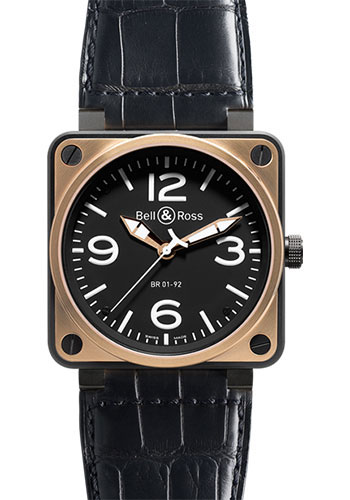 Bell & Ross Watches - BR 01-92 Automatic Pink Gold and Carbon - Style No: BR 01-92 Black Rose Gold & Carbon
