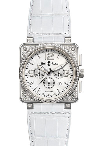 Bell & Ross Watches - BR 01-94 Chronograph Diamonds - Style No: BR 01-94 Full Diams White