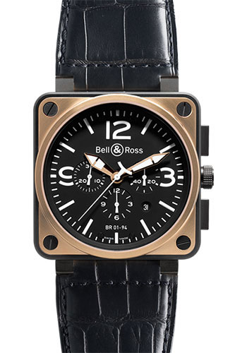 Bell & Ross Watches - BR 01-94 Chronograph Pink Gold and Carbon - Style No: BR 01-94 Black Rose Gold & Carbon