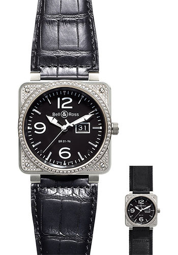 Bell & Ross Watches - BR 01-96 Automatic Big Date Diamonds - Style No: BR 01-96 Top Diams Black
