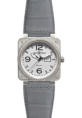 Bell & Ross Watches - BR 01-96 Automatic Big Date Diamonds - Style No: BR 01-96 Top Diams White
