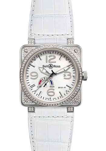 Bell & Ross Watches - BR 01-97 Power Reserve Diamonds - Style No: BR 01-97 Full Diams White