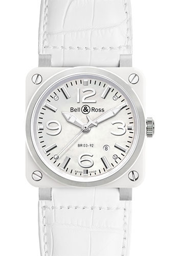 Bell & Ross Watches - BR 03-92 Automatic White Ceramic - Style No: BR 03-92 White Ceramic Alligator