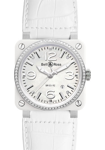 Bell & Ross Watches - BR 03-92 Automatic White Ceramic - Style No: BR 03-92 White Ceramic Diamond Alligator