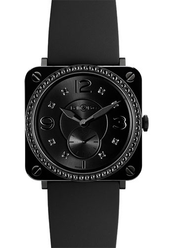 Bell & Ross Watches - BR-S Quartz Black Ceramic Phantom - Style No: BR-S Black Ceramic Phantom Diamond Rubber