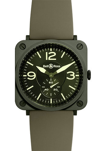 Bell & Ross Watches - BR-S Quartz Military Ceramic - Style No: BR-S Military Ceramic Rubber