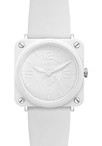 Bell & Ross Watches - BR-S Quartz White Ceramic Phantom - Style No: BR-S White Ceramic Phantom Rubber